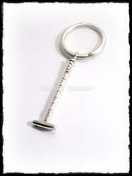 Ezüst lovaspóló ütő kulcstartó