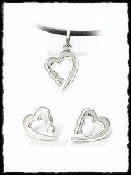 Ezüst szív garnitúra lóláb mintával