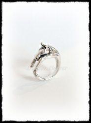 Ezüst nyitott ló gyűrű
