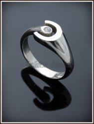 Ezüst nyitott köves patkó gyűrű (kicsi)