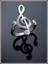 Ezüst violinkulcs gyűrű