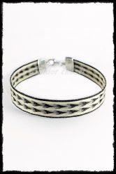 Saját lófarokból, ezüst szíves karkötő (12 mm)
