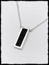 Téglalap lószőr betétes ezüst nyaklánc