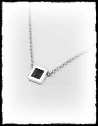 Szögletes lószőr betétes ezüst nyaklánc