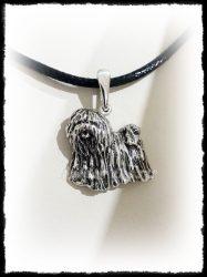 Ezüst álló puli kutya medál