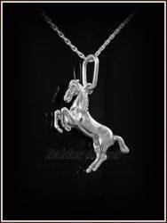 Kétoldalas ágaskodó ló medál ezüstből