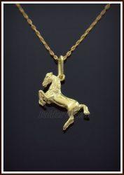 Kétoldalas ágaskodó ló medál aranyból
