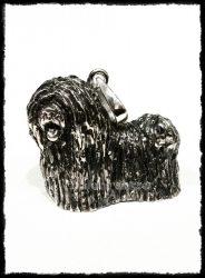 Ezüst nagy puli kutya medál 3D