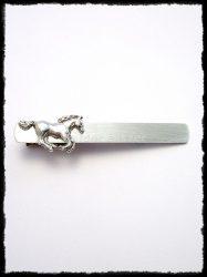 Ezüst lovas nyakkendőcsipesz