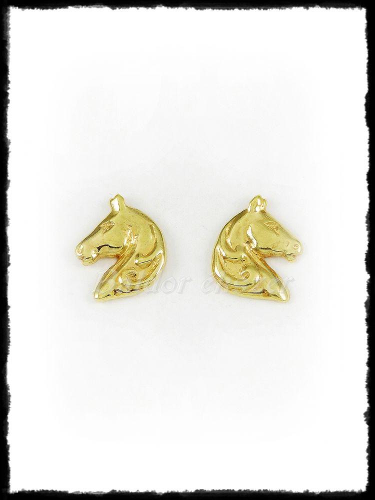 Arany stekkeres lófej fülbevaló